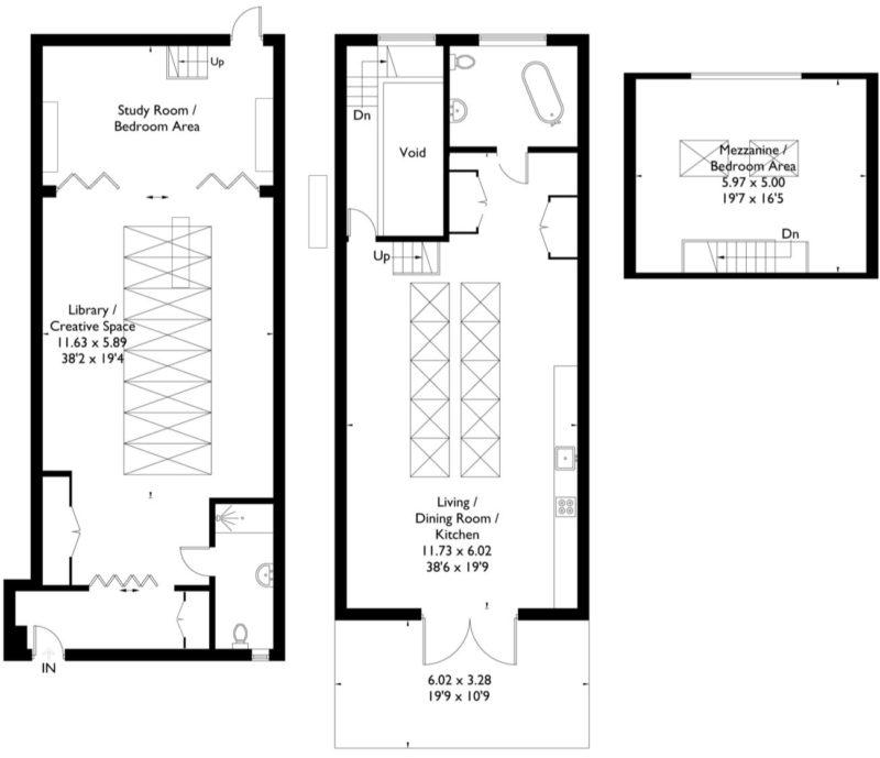 Plan loft sur 3 niveaux