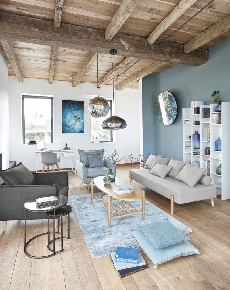 Canapé banquette avec pieds bois de style scandinave