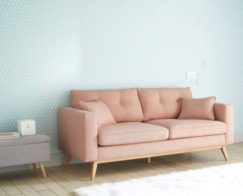 Canapé lit style scandinave rose