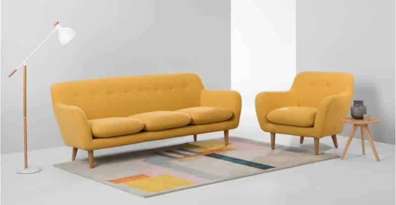 Canapé jaune de style scandinave 3 places
