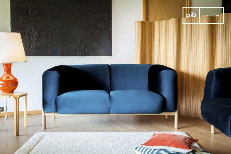 Canapé scandinave en velours bleu