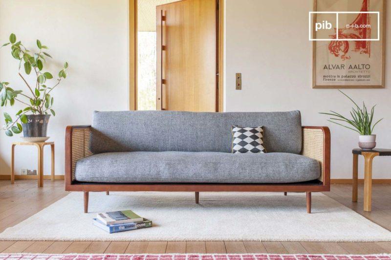 Canapé avec cannage pour une ambiance scandinave