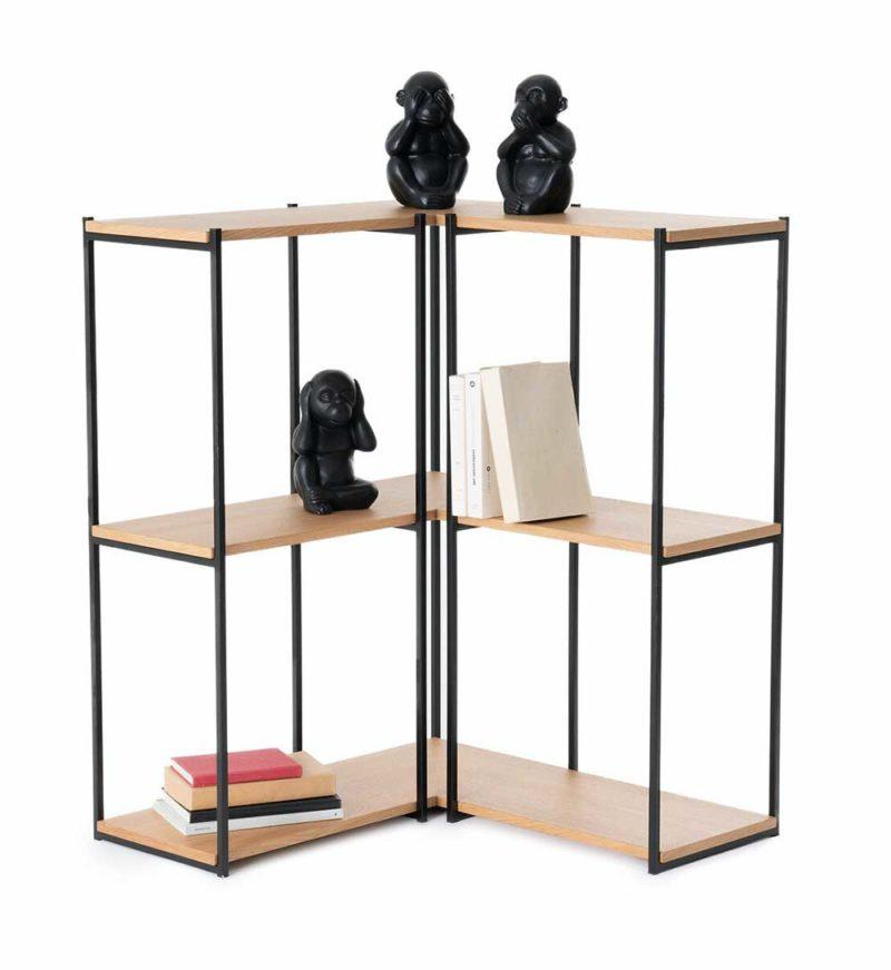 Bibliothèque d'angle métal et bois