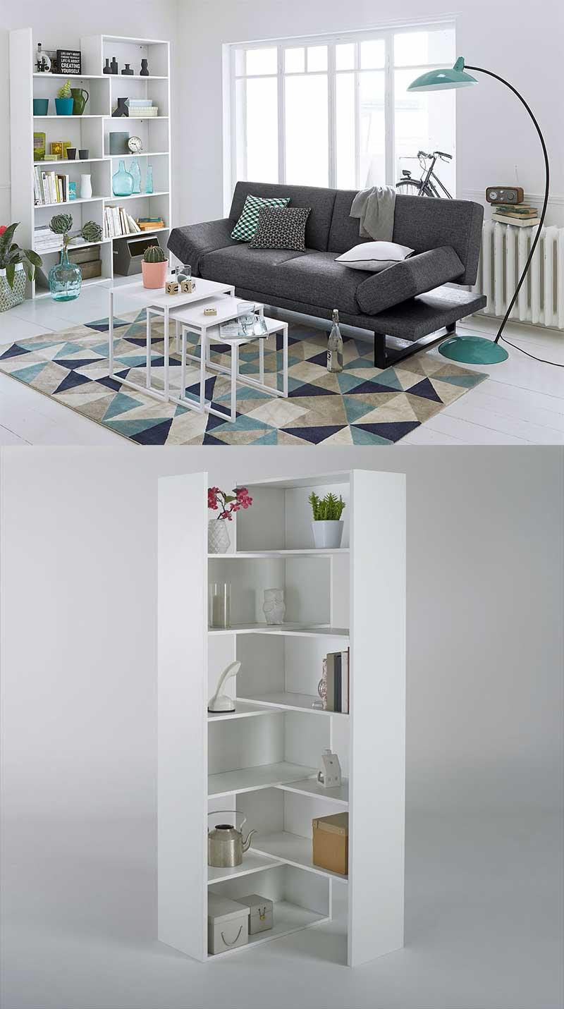 Bibliothèque classique qui se transforme en meuble d'angle