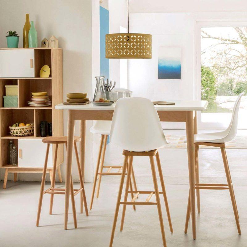 Table haute en bois plateau blanc