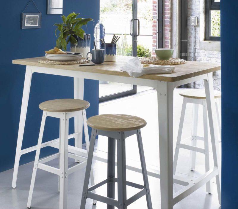 Table mange debout en métal et bois style industriel