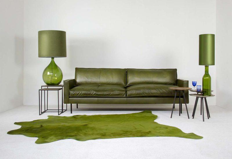Canapé en cuir vert