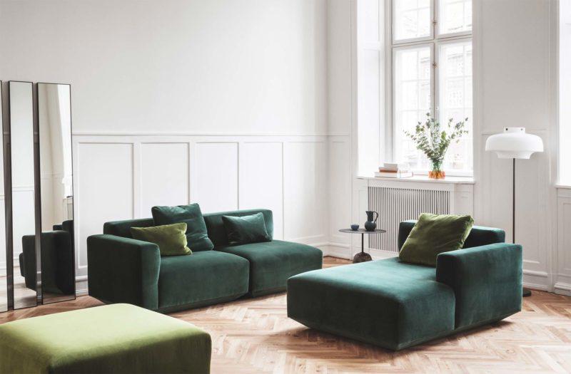 Canapé modulable vert en velours