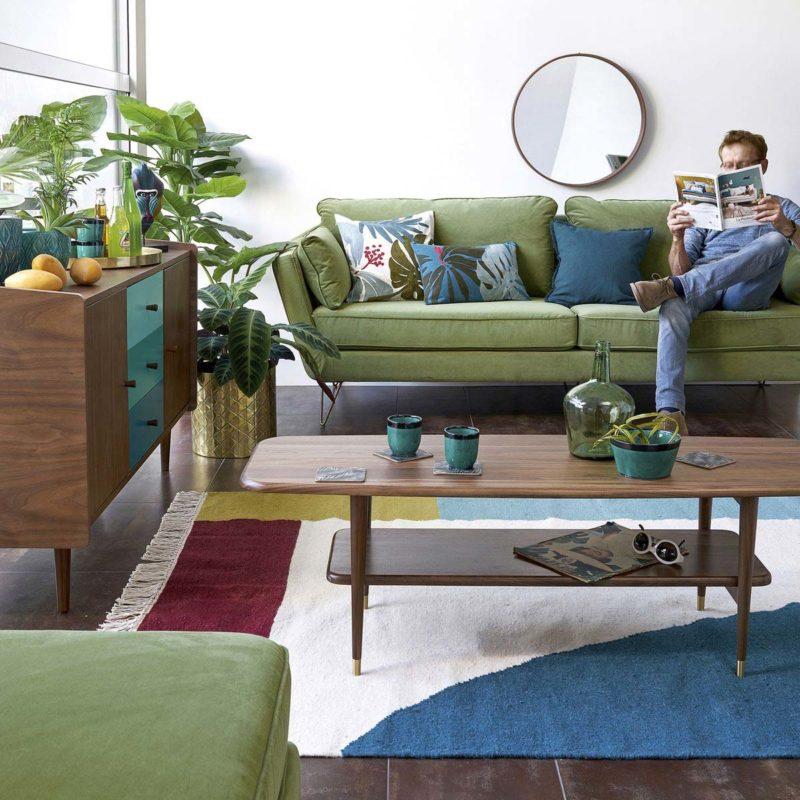 Canapé vert : 15 idées déco pour un salon esprit nature