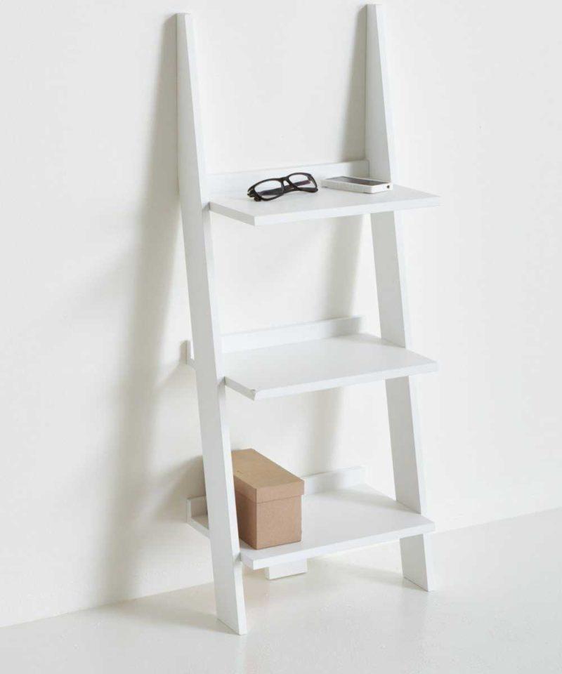 Petite étagère échelle murale blanche