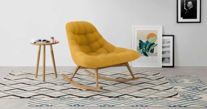 Rocking chair design jaune