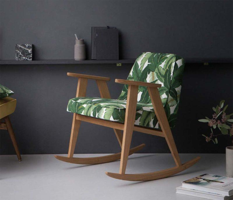 Rocking chair style vintage tissu