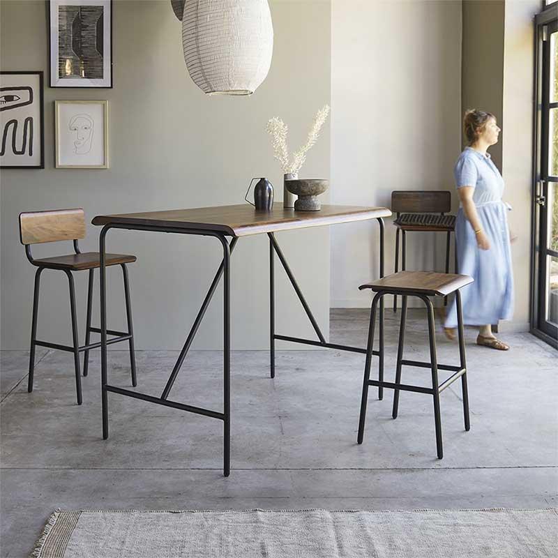 Table mange debout structure métal avec plateau en bois massif