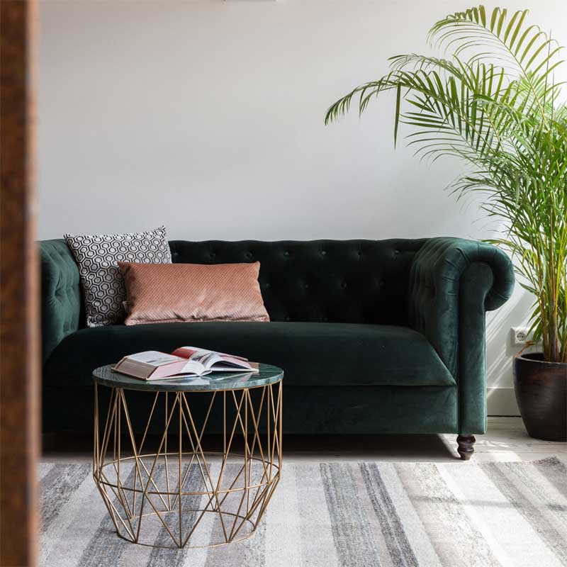 Canapé Chesterfield en velours vert