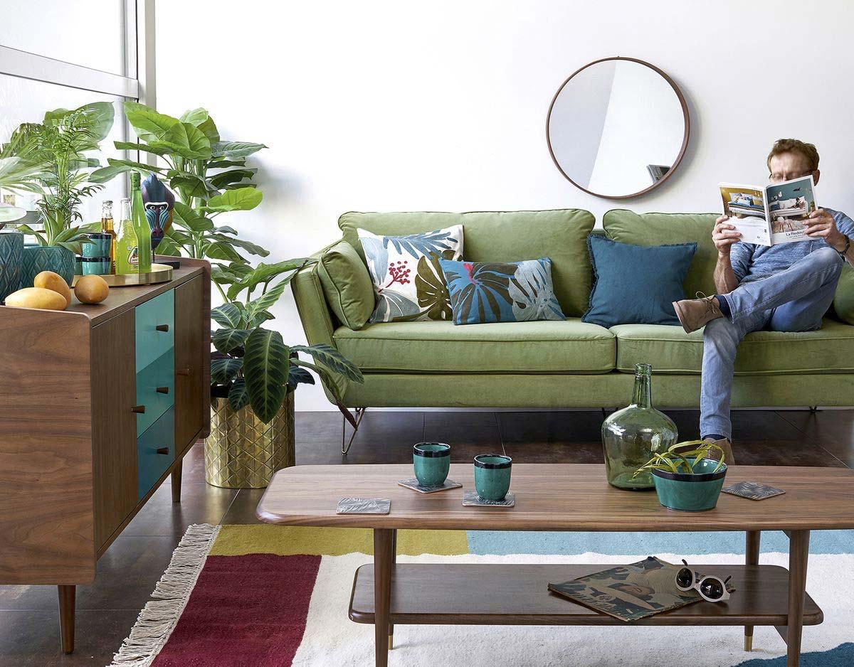Changer La Couleur D Un Canapé En Cuir canapé vert : 15 idées déco pour un salon esprit nature