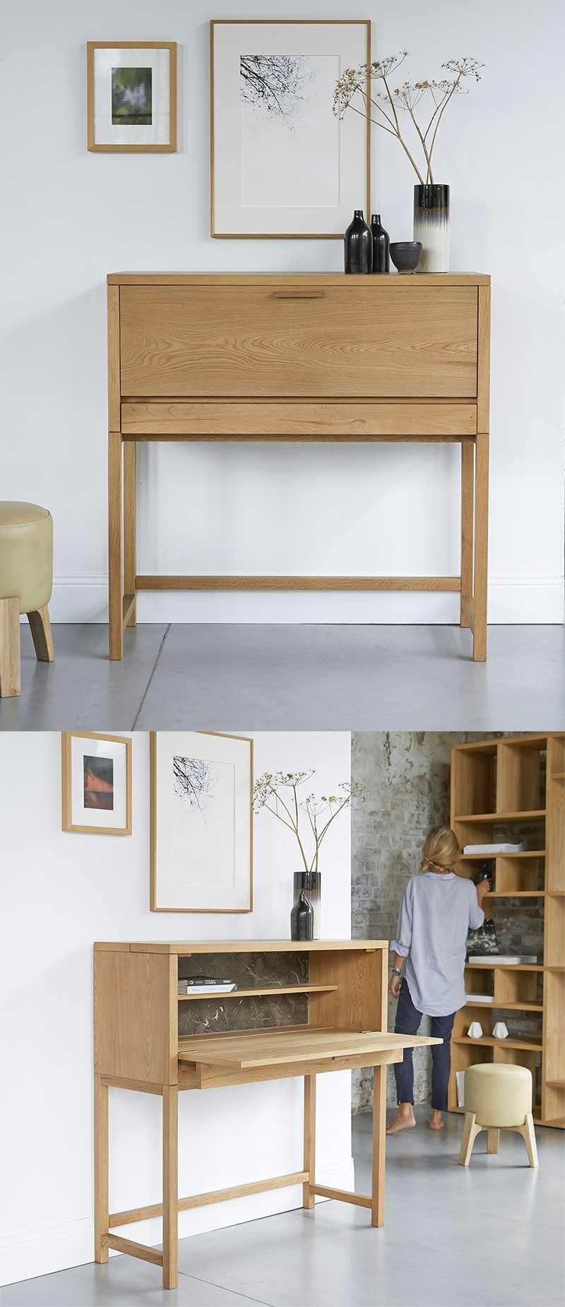 Bureau escamotable en chêne et marbre
