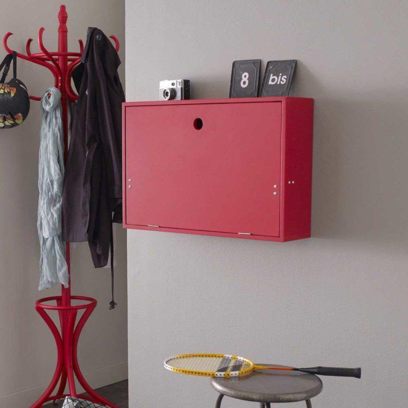 Bureau mural rabattable rouge