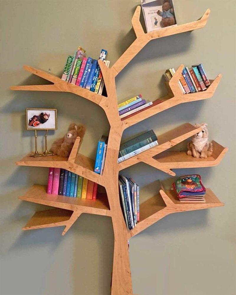 Bibliothèque arbre pour chambre d'enfant