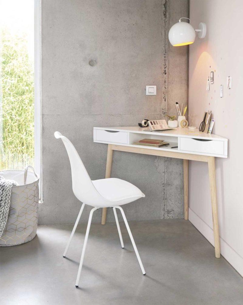 Petit bureau d'angle esprit scandinave blanc et bois