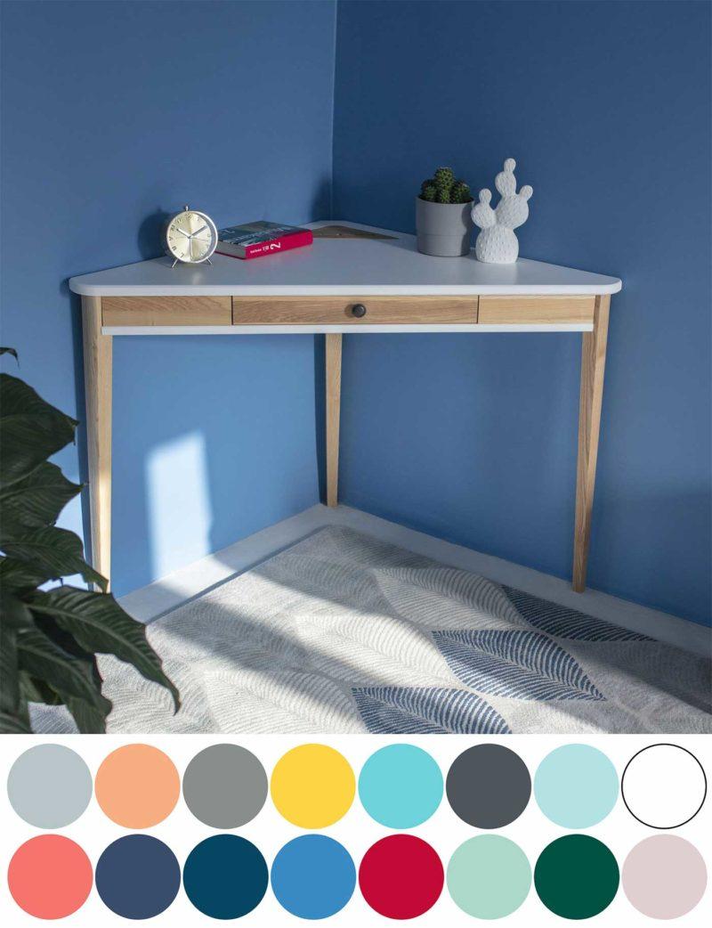 Bureau d'angle avec pieds bois et plateau coloré