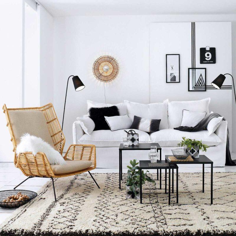 Canapé convertible en lin blanc style scandinave
