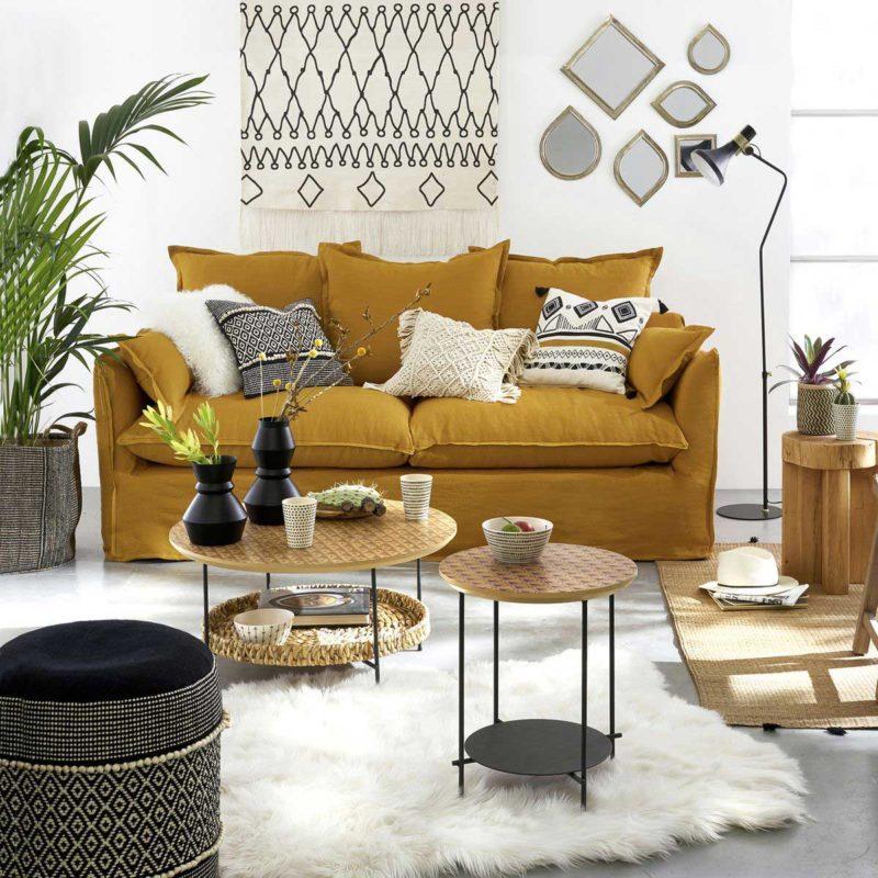 Canapé lit en lin jaune pour salon déco scandinave