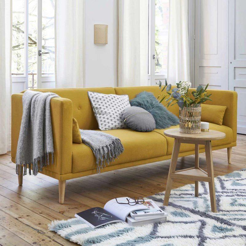 Canapé lit jaune style nordique