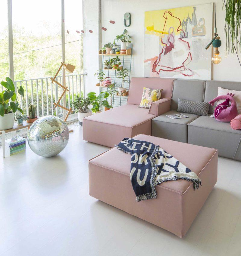 Canapé modulable gris et rose
