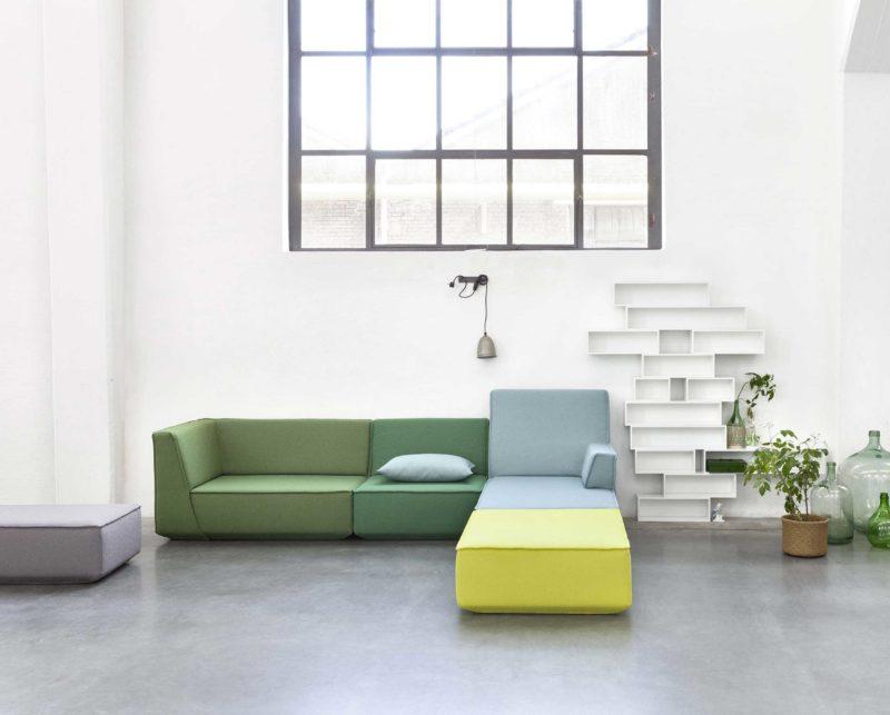 Canapé modulable multicolor vert, bleu et jaune