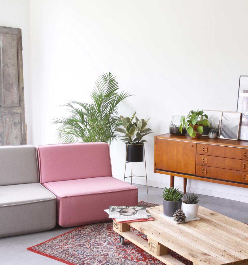 Canapé modulable rose et gris