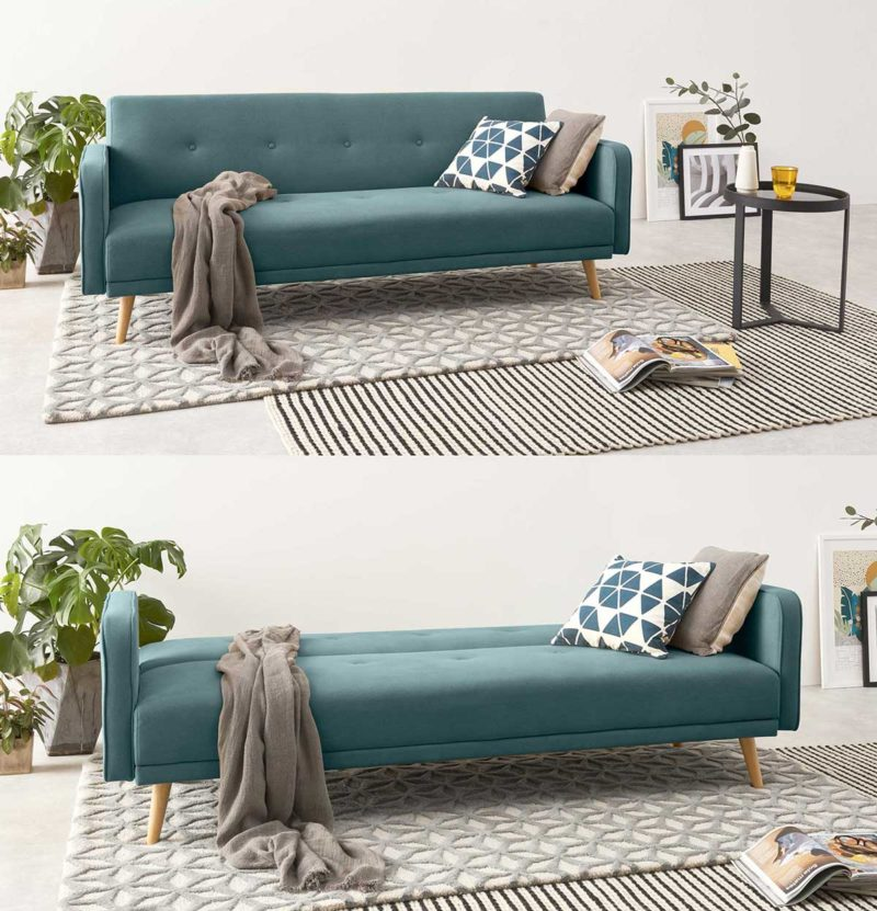 Canapé scandinave bleu convertible en lit deux personnes