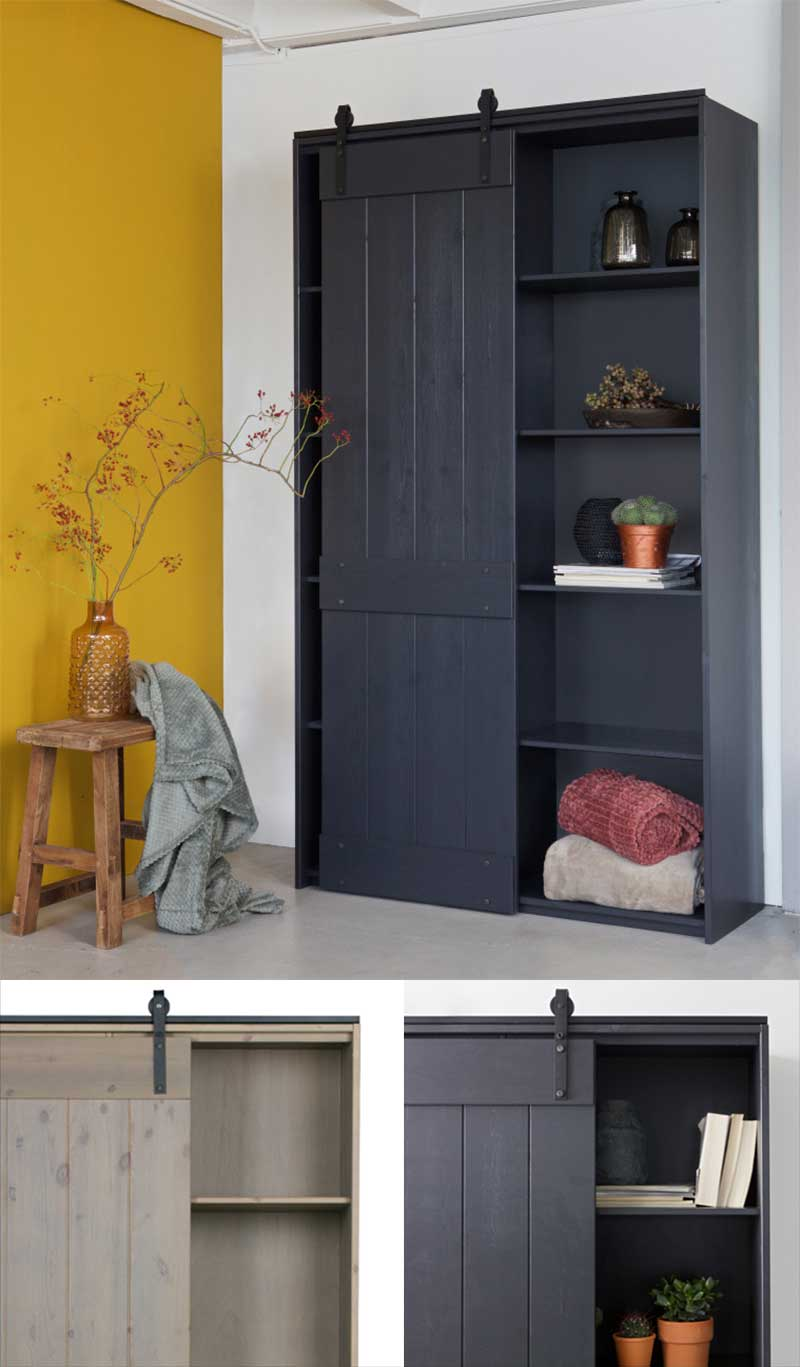 Dressing style industriel en bois avec porte coulissante