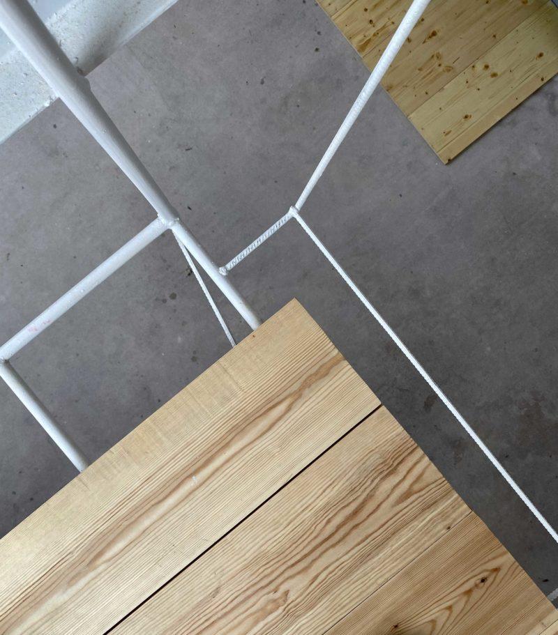 Mezzanine en acier rond blanc