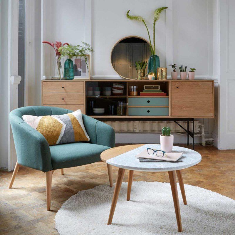 Table basse avec plateau rond bois et marbre