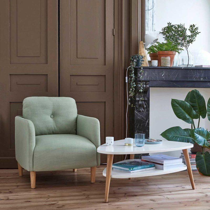 Table basse blanc et bois style scandinave