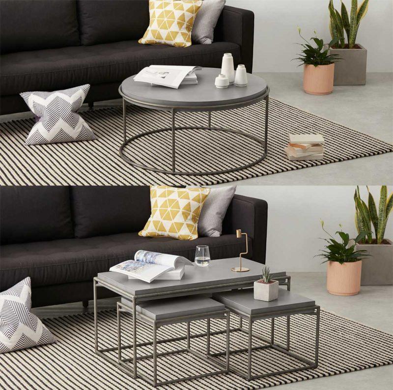 Table basse industrielle en métal avec plateau en béton