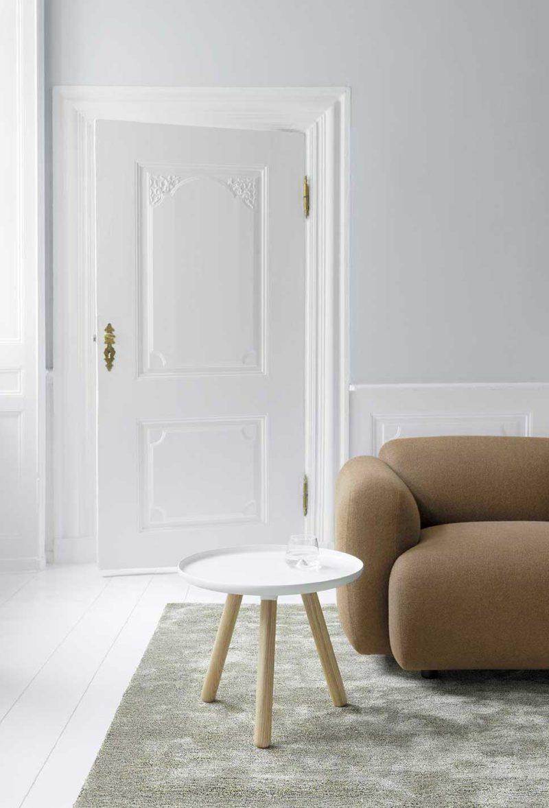 Table basse scandinave moderne blanc et bois