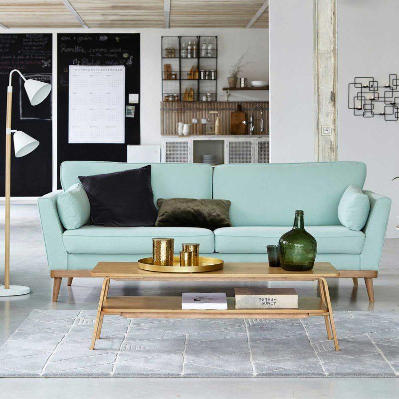 Table basse scandinave rectangulaire en bois clair