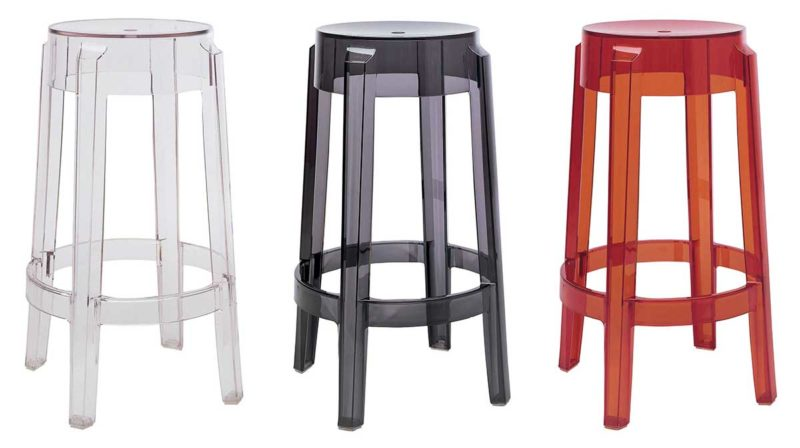 Tabouret de bar empilable en plastique transparent