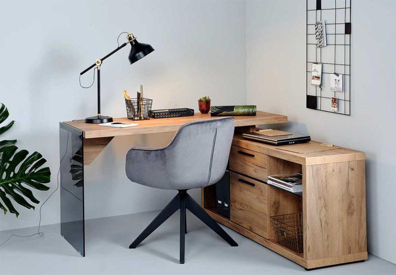 Bureau d'angle en bois et en verre