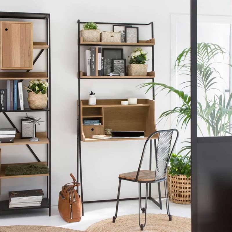 Bureau étagère en métal et bois