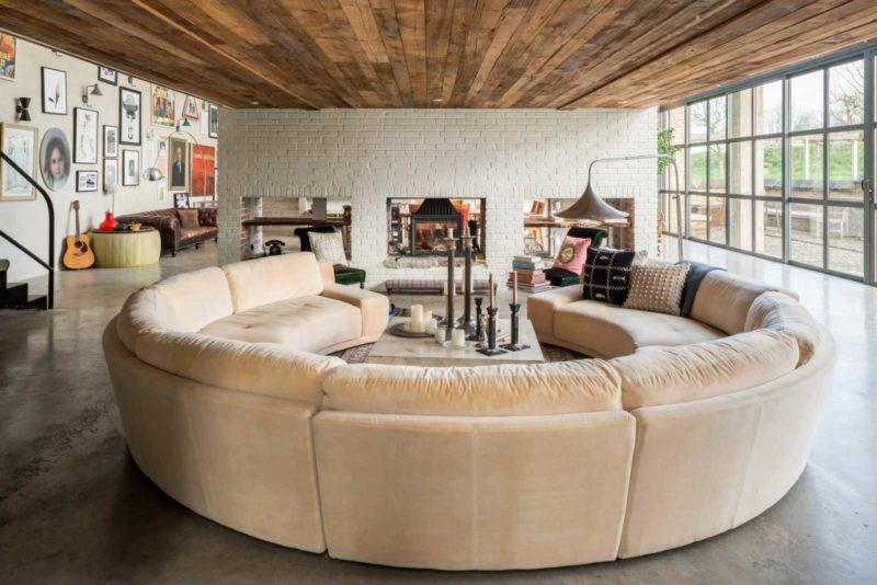 Canapé circulaire beige