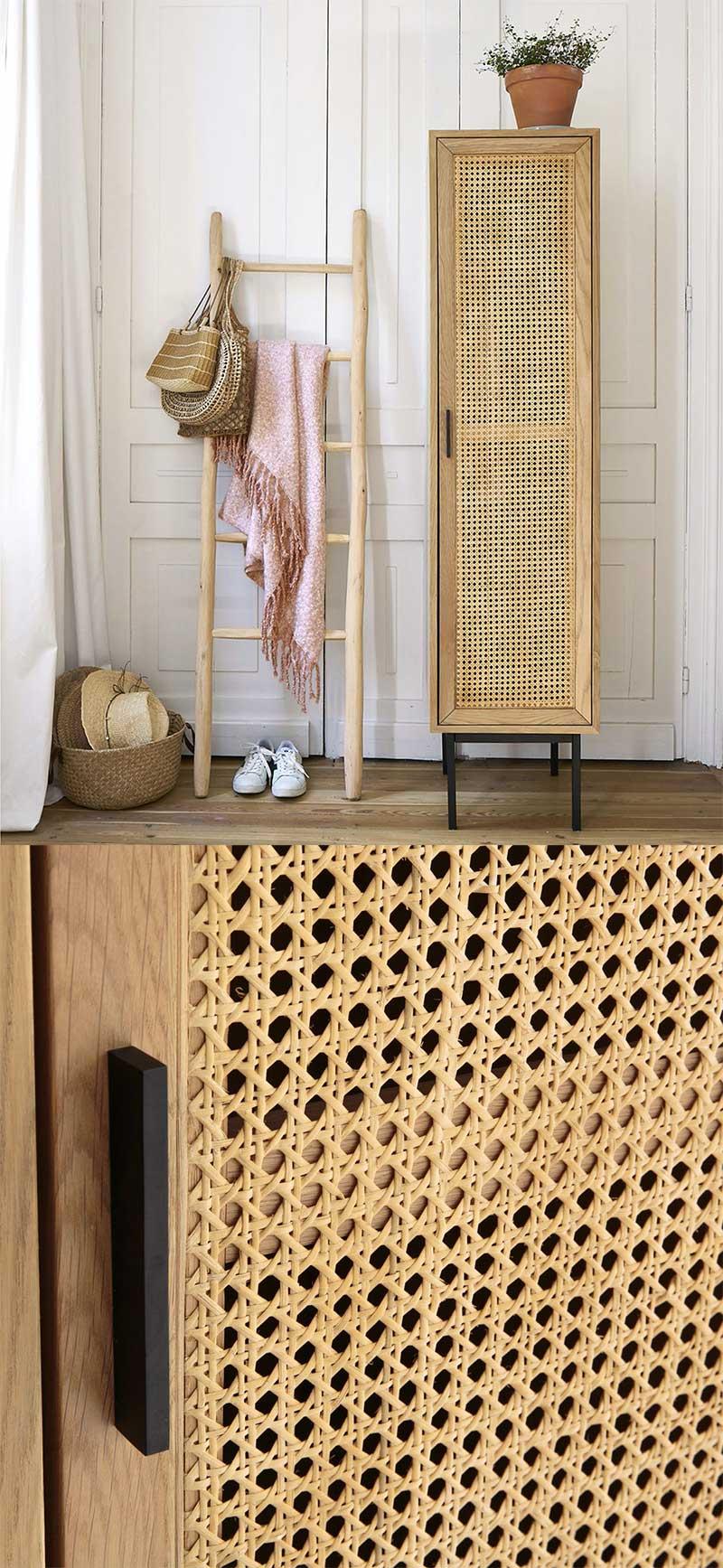 Meuble armoire avec penderie en cannage