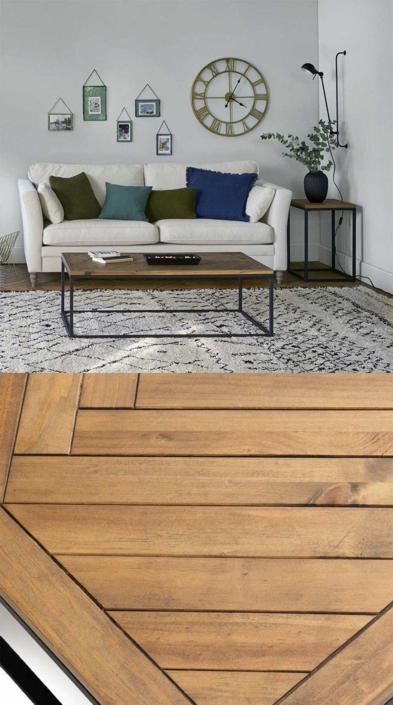 Table basse indus avec plateau bois style parquet à baton rompu