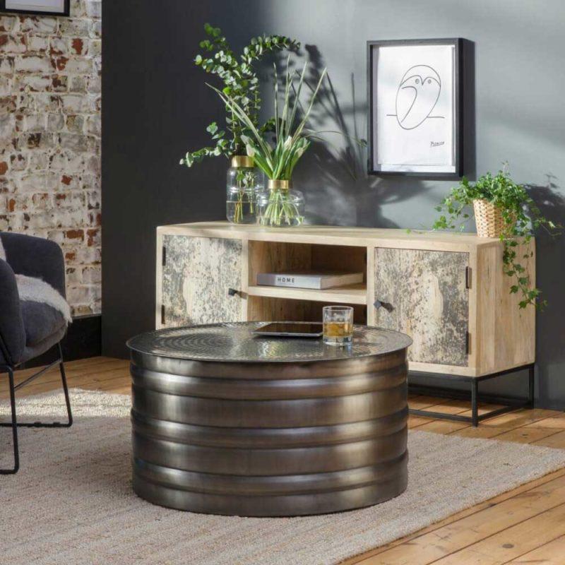 Table basse industrielle ronde en métal