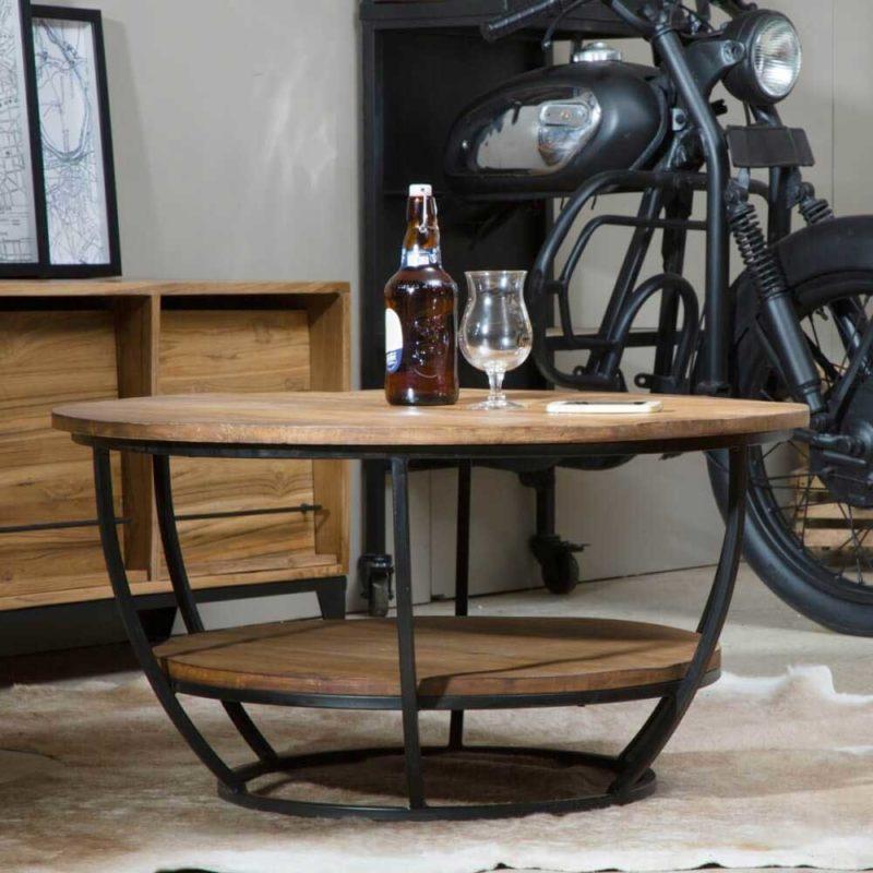 Table basse ronde avec forme originale
