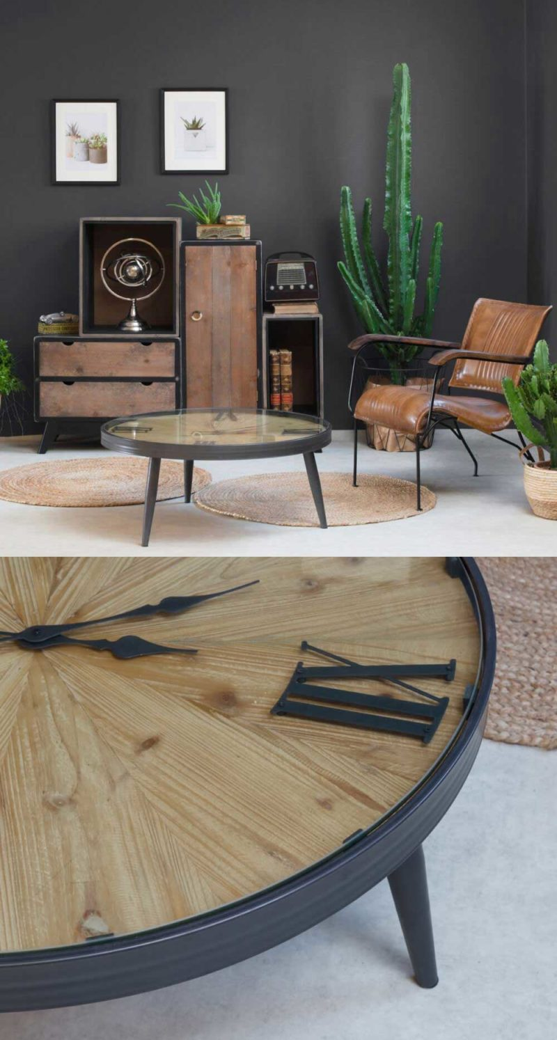 Table basse ronde avec plateau horloge vintage