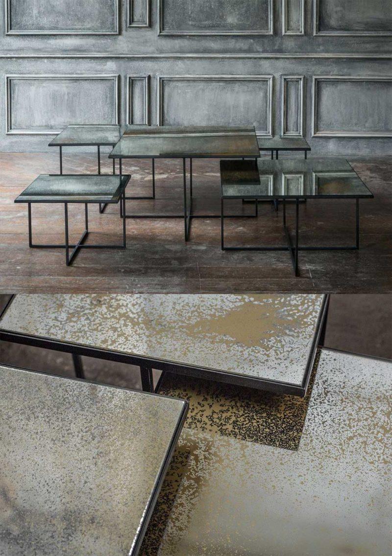 Table basse style industriel chic avec plateau miroir vieilli