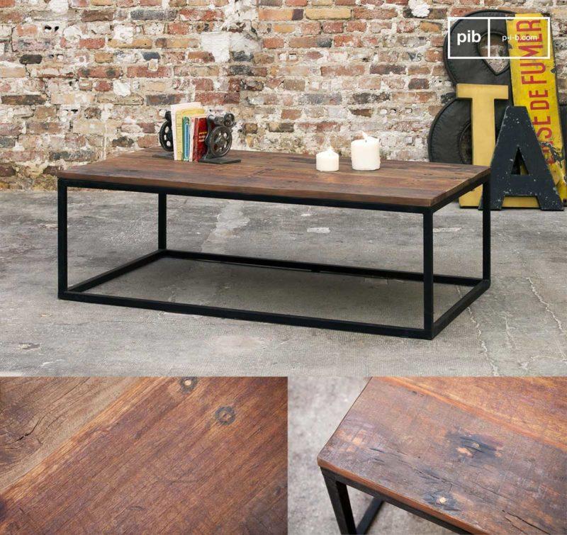 Table basse style industriel en bois massif recyclé