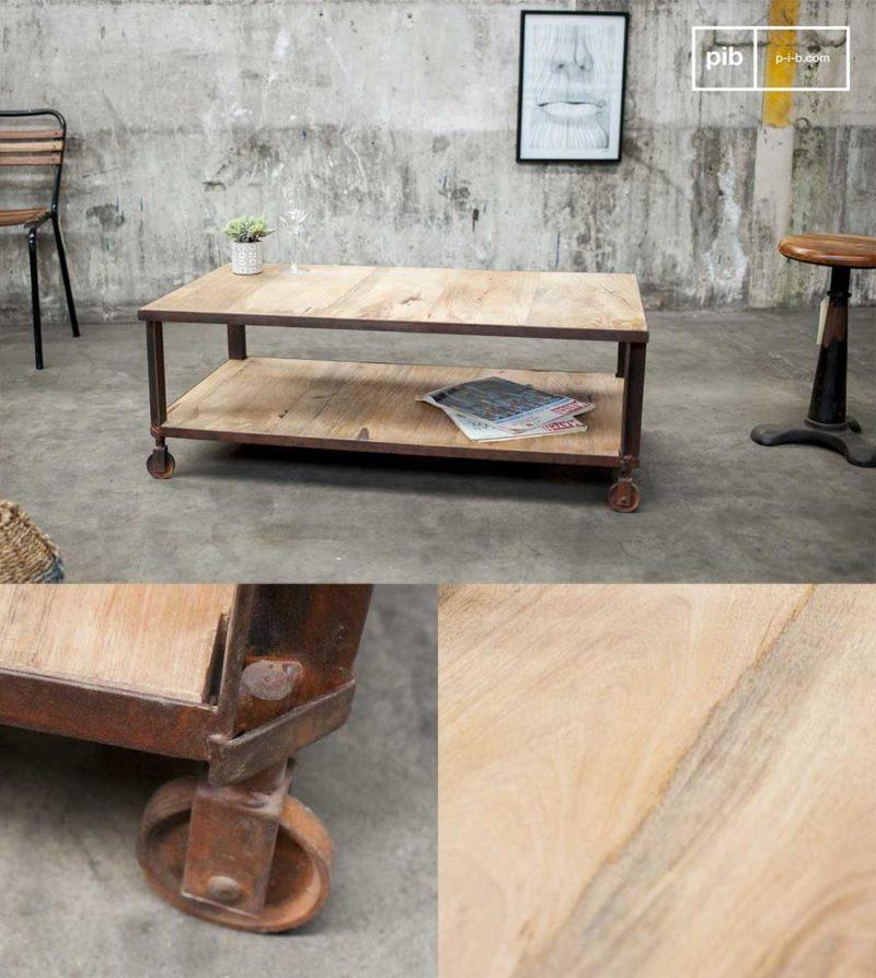 Table de salon industrielle avec deux plateaux
